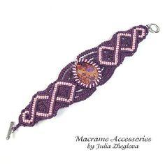 Macrame Bracelet With Violet Variscite woman braided by makrame, $50.00