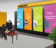 Simple and popping but still leaves room to talk with potential customers. Tradeshow booth vanguard example.