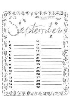 september September Kalender, Planner Pages, Printable Paper, Junk Journal, Journal Inspiration, Free Printables, Writing, Doodles, Creative