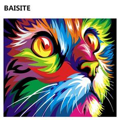 Abstract Oil DIY Painting (By Numbers) – Jayvee home store Colorful Animal Paintings, Colorful Animals, Lion Painting, Rainbow Painting, Tableau Pop Art, Simple Oil Painting, Cross Paintings, Cat Paintings, Cat Colors