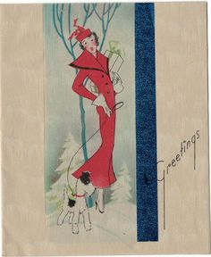 1930s Beautiful Art Deco Scotty Dog Leash Shopping Woman Red Coat Christmas Card FOR SALE • $30.00 • See Photos! Money Back Guarantee. This is an original 1930s era Art Deco styled Greetings Card for the Holidays, Christmas and New Years, featuring a sleek woman in a red coat holding her packages in 271925635702