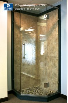 Features glass-to-glass hinges and a header system in low Iron (starphire) shower glass. Frameless Shower Enclosures, Frameless Shower Doors, Glass Hinges, Glass Shower, Header, Bathroom Ideas, Minimalism, Corner, Iron