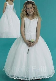 Plus Size Satin First Communion Dress with Rocaille Beads and Sequins