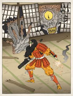 Samus Aran as an Ukiyo-e by thejedhenry.deviantart.com on @deviantART