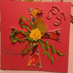 Christening card by quilling