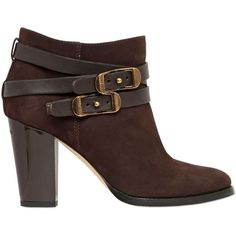 JIMMY CHOO 80mm Melba Suede Belted Ankle Boots (€520) ❤ liked on Polyvore featuring shoes, boots, ankle booties, ankle boots, booties, jimmy choo, brown, high heel booties, suede bootie and brown ankle booties