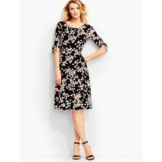 Talbots Women's Vine Print Tie Sleeve City Jersey Dress ($110) ❤ liked on Polyvore featuring dresses, plus size, white dress, half sleeve dresses, petite dresses, women plus size dresses and plus size white dress