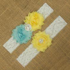 Bleu et jaune de mariage jarretière, ensemble de jarretière mariée, mariage jarretière ensemble, Jarretière de dentelle blanche, dentelle jarretière ensemble, fleur mariage jarretières, SCW2-44