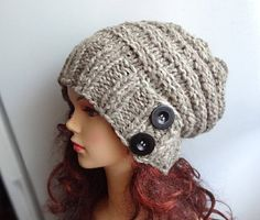 Slouchy Hat Slouchy Beanie Button Hat Hand Knit Winter Women