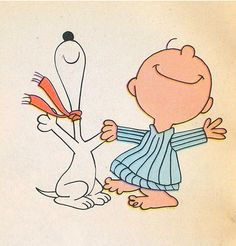 Snoopy & Charlie Brown doin' the happy dance