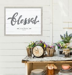 """""""Blessed"""" print. Rustic style art that can be personalized with our family name."""