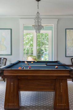 43 Billiard Room Design Ideas | Sebring Design Build Billiard Pool Table, Billiards Pool, Antique Pool Tables, Pool Table Room, Game Room Basement, Room Wall Colors, Pool Table Lighting, Blonde Wood, Basement Remodeling