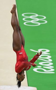 US gymnast Simone Biles practices prior to the women's vault event final of the…