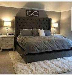 Small Master Bedroom, Farmhouse Master Bedroom, Master Bedroom Design, Bedroom Sets, Bedding Sets, Gray Bedroom, Grey Bedding, Master Bedrooms, Bedroom Colors
