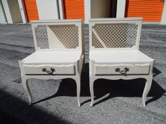 on sale GREAT LEGS / Pair Of White Wood French End Tables / Grate Detailing / Gorgeous Legs / Paris Apt.
