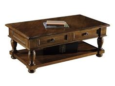 Shop for Hekman Rectangular Coffee Table, 72302, and other Living Room Tables at Hickory Furniture Mart in Hickory, NC. Select solids and veneers. Weathered Walnut finish (WW). Random planked, hand planed veneered top Two drawers Lower shelf for storage.