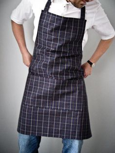 Mens Apron / Dark Navy Denim Plaid by DearEdna on Etsy, $35.00