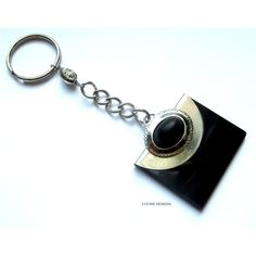 OOAK fashion keychain accessory in silver and black by Lucine Designs
