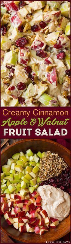 Creamy Cinnamon Apple and Walnut Fruit Salad - Cooking Classy Creamy Cinnamon Apple and Walnut Fruit Salad - Cooking Classy Original art. Dessert Salads, Fruit Salad Recipes, Fruit Salads, Jello Salads, Fruit Fruit, Salad Bar, Soup And Salad, Cobb Salad, Healthy Snacks