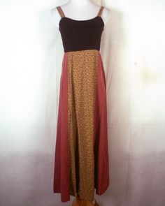 vtg 90s euc One of A Kind Hippie Boho Maxi Dress Corduroy Top tiny floral SZ S #OneofaKind