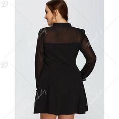 Autumn Lace Up Mesh Yarn Insert Long Sleeve Dress, BLACK, XL in Dresses | DressLily.com