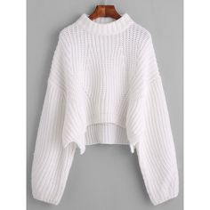 SheIn(sheinside) Drop Shoulder Lantern Sleeve Crop Sweater (165 SEK) ❤ liked on Polyvore featuring tops, sweaters, white, long sleeve pullover, long sleeve tops, white sweater, crew neck sweaters and white cropped sweater