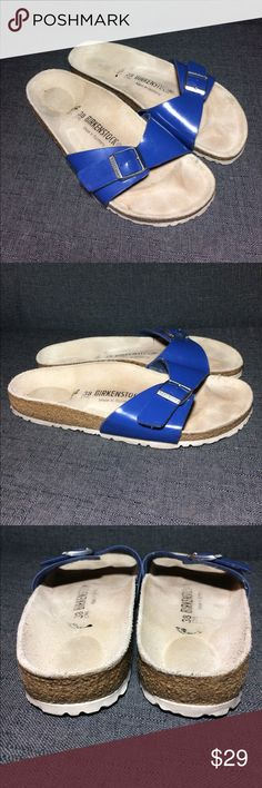 Birkenstock Madrid Sandals Patent Birko-Flor – a durable, synthetic upper material with a shiny patent leather-like finish and soft backing Contoured cork footbed conforms to the shape of your foot and features pronounced arch support, a deep heel cup, and roomy toe box, lined with suede Lightweight EVA sole for cushioning and shock absorption, with scuffs and marks from normal wear but definitely lots of life left 🌸 Birkenstock Shoes