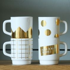 white & gold cups