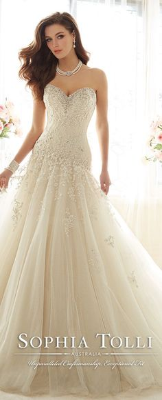 sophia tolli strapless taffeta and misty tulle full A-line wedding gown spring 2016 Y11637