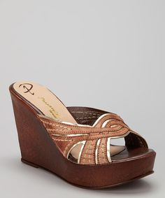 Look at this Passarela Brazil Terra Stitched Leather Sandal Wedge on #zulily today!