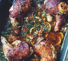 Tuscan Lemon Thyme Chicken with Crispy Pancetta – A Winter Delight Tuscan Chicken Healthy Cooking, Cooking Recipes, Healthy Recipes, Dutch Oven Chicken Thighs, Lemon Thyme Chicken, Tuscan Chicken, Crispy Chicken, Easy Chicken Recipes, Family Meals