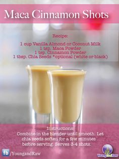 """Maca Cinnamon Shots Source ~ Young and Raw added a new photo: """"Looking for something fun, creative and..."""""""