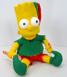 2012 Musical Singing BART SIMPSON Santas Best Christmas Elf Plush Stuffed Figure #Telco