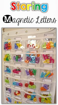 Storing Magnetic Letters – Clever Classroom More from my siteClever DIY Glass Magnets Classroom Organisation, Teacher Organization, Classroom Management, Classroom Storage Ideas, Letter Activities, Literacy Activities, Classroom Setting, Kindergarten Literacy, Teaching Tools