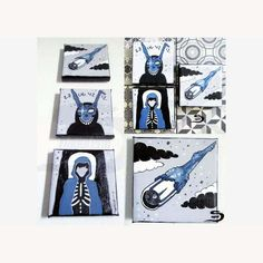 Donnie Darko original 3 piece painting - horror science fiction cult bunny rabbit movie art - black and white - grey blue - surreal decor by…