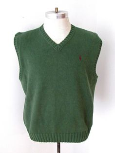 MINTY Polo by Ralph Lauren Green 100% Cotton V-Neck Sweater Vest Pony Logo L | Clothing, Shoes & Accessories, Men's Clothing, Sweaters | eBay!