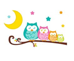 Owl Tree Wall Decal Branch Mural for baby girl woodland forest animal friends nursery. A family of owls sitting on a branch in the star lit moonlight #decampstudios