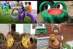 Such cute ideas on things for kids! Take old tires and turn them into animals for kids to play on