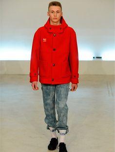Hooded Woollen Duffle Coat Red