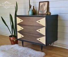 Vintage retro chest of drawers with hand painted geometric detail in pastel yellow  www.rawrevivals.com.au