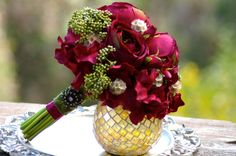 Red Cranberry Wine Rose and Green Seed Boutonniere Christmas Bouquet