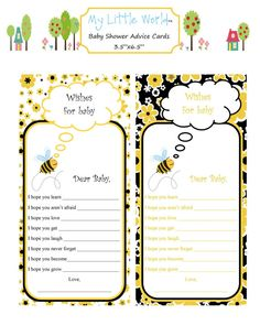 Baby Advice Cards  Bumble Bee Collection by mylittleworldstore, $8.50