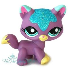 ✵Littlest Pet Shop✵2386✵LILAC PURPLE BLUE SPARKLE GLITTER KITTEN KITTY CAT✵TABBY
