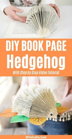 Turn an old book into this adorable paper hedgehog craft! This is a great decoration for a baby shower or a kids room and a fast craft to make! Old book page paper animal crafts are an excellent way to decorate and have fun crafting with kids! #PaperHedgehog #Hedgehog #PaperCraft #OldBookPage #BabyShower #BabyRoom #Nursery Paper Animal Crafts, Paper Animals, Paper Crafts, Christmas Crafts For Kids, Fall Crafts, Crafts To Make, Diy Crafts, Old Book Pages, Old Books