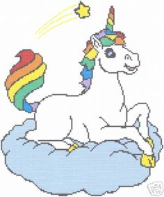 Crochet Graph Pattern Rainbow Unicorn Afghan!