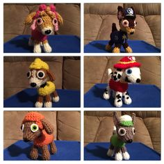Crochet Paw Patrol set for my 3 year old little girl made from a pattern I created for her. :)