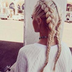 Platinum blonde and tan #blonde #tan #braids #platinum #summer