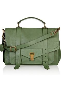 Proenza Schouler PS1 Large Green Leather Satchel This would be perfect for hauling all of my school things.