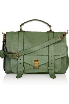 Proenza Schouler PS1 Large Green Leather Satchel #fashion #handbag #satchel #leather