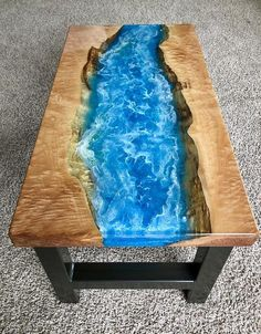 Epoxidharz Ozean und Ahorn Couchtisch – into the future Epoxy resin ocean and maple coffee table – into the future – table Epoxy Table Top, Epoxy Wood Table, Epoxy Resin Table, Diy Epoxy, Wood Tables, Wood Slab Table, Resin Patio Furniture, Backyard Furniture, Outdoor Furniture